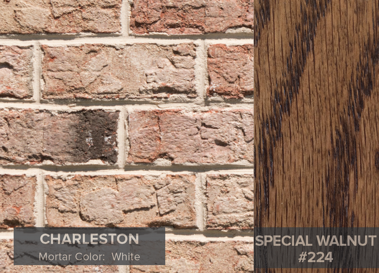 As You Can See The Special Walnut Stain Highlights Warm Tones And Charcoal Accents In Charleston Brick While Red Mahogany Accentuates