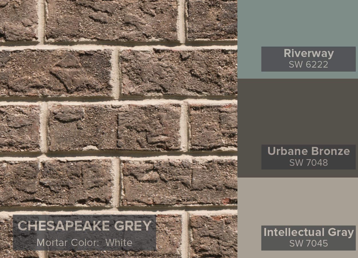 Sherwin Williams Color Of The Month Urbane Bronze Paired With Tbc Brick